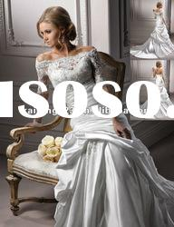Elegant Three-quarter Sleeves Portrait Trumpet Lace Satin Wedding Gown