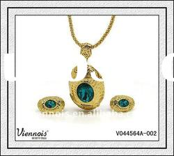 Ladies Women Fashion Brand Jewelry Set Design, Necklace and Earring, Gold Jewelry Set