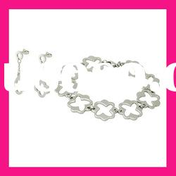 fashion stainless steel bracelet and earring wedding jewelry sets for brides cheap gifts for women