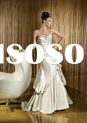Hot sale ! Classic best-selling gorgeous sheath halter wedding dress