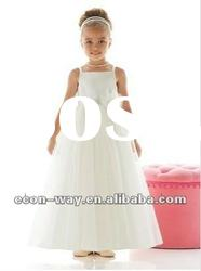 2012 Fashion Tulle Ankle Length A-Line White Flower Girl Dress