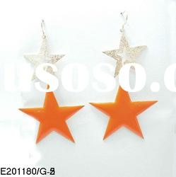 2012 korea New style orange and gold double five point star pendant earrings designs for women