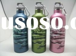 Double wall stainless steel water bottle with carabiner BPA FREE