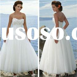 Soft Ball Gown Ankle-Length White Organza Wedding Dresses
