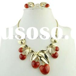 Spring-summer Bib Epoxy Red Cherry Necklace Sets,Fashion Women costume jewelry