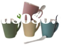 V Shape Colored Ceramic Mug with Spoon for Coffee Mug Set