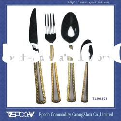86pcs set Gold plated Stainless steel dinner Cutlery TL90302