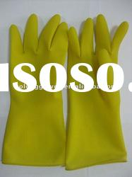 Yellow color of latex industry gloves