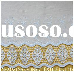 white cotton with particular voile border embroidery fabric for garments