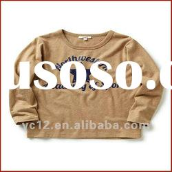 New Fashion Design Boys Cotton Long Sleeve Flock Print T-shirt