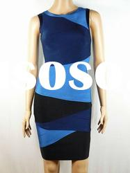 2012 Fashion Evening Dress,Blue With Black Round Neck Fashion Dress Party Celebrity Dress H068