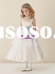 A-line Scoop Satin Tulle Grey Flower Girl Dresses