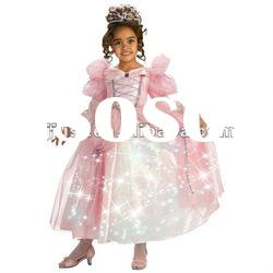 Led light decoration fashion kids girl party wear dress
