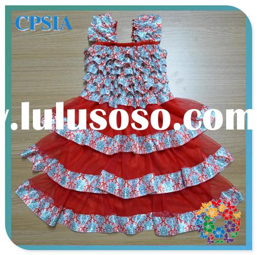 2014 Cute Pattern Print Children's Birthday Dresses Latest Design Baby Clothes Kids Frock De