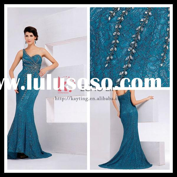 New Coming Blue One Shoulder Lace Long Dress With Handmade Appliqued Beaded Fashion Mermaid Wedding