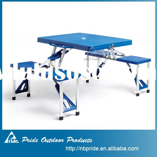Outdoor plastic folding picnic table and chairs