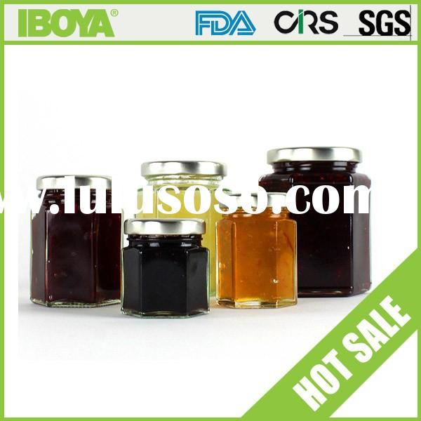 wholesales heaxgonal glass jam jar with metal lid