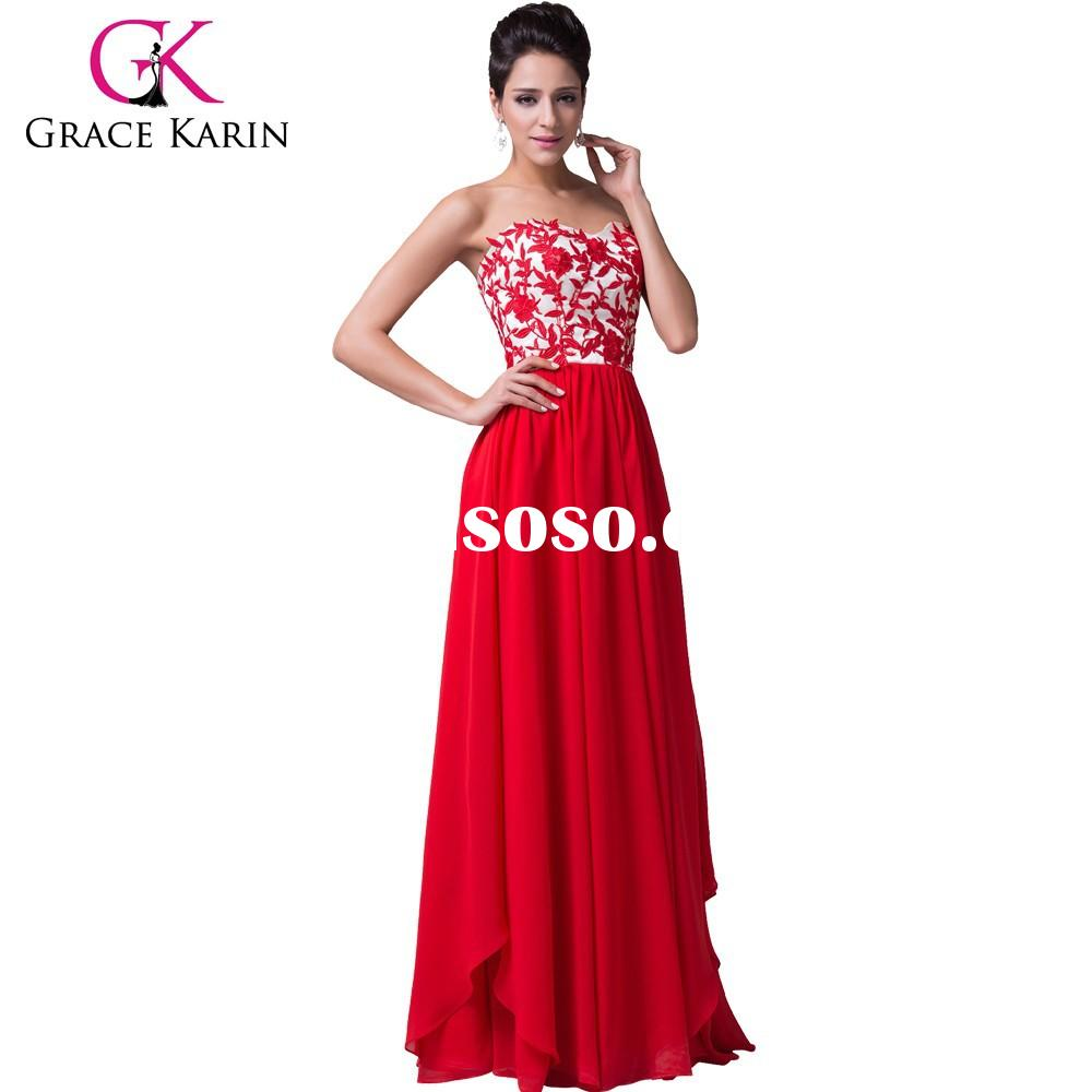2015 new design strapless chiffon ball gown Sweetheart floor Long length Red Party Evening Dresses C