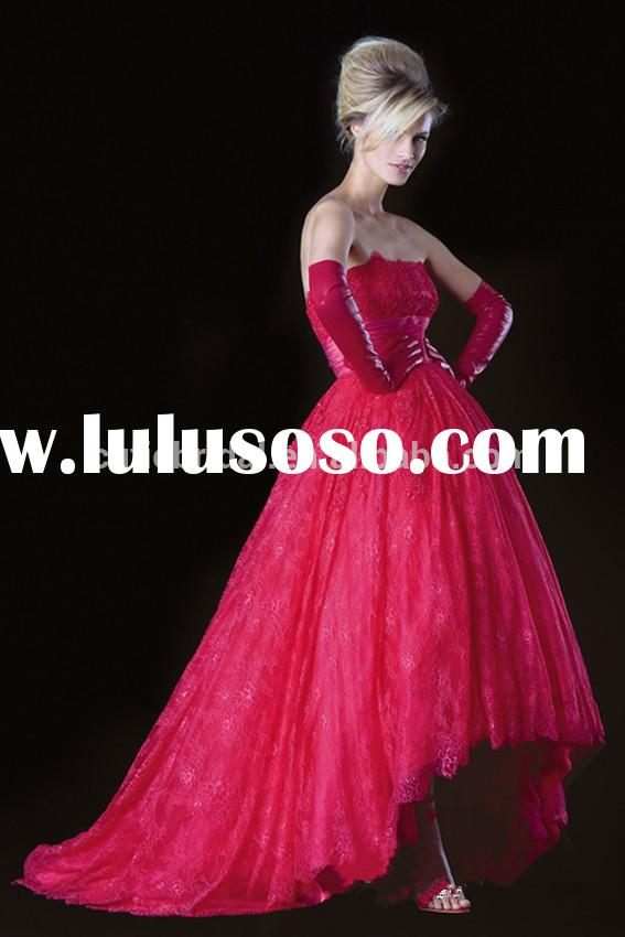 Custom Made Strapless Red High Quality Lace Ball Gown Front Short Long Back Evening Dress