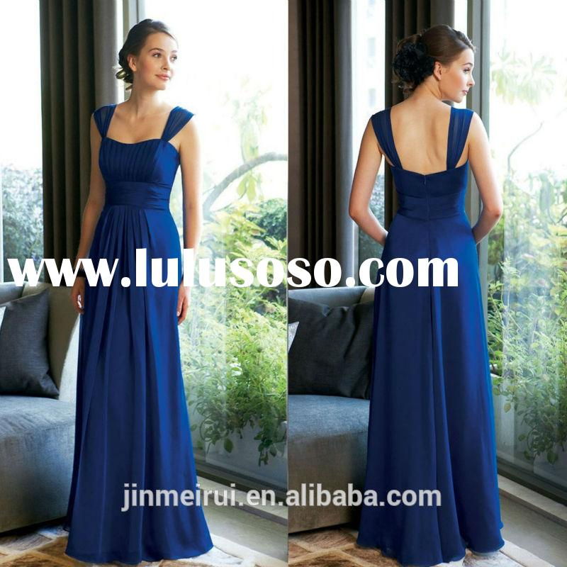 2014 Cheap Long Royal blue Bridesmaid Dress Chiffon Floor Length Wedding Guest Dresses