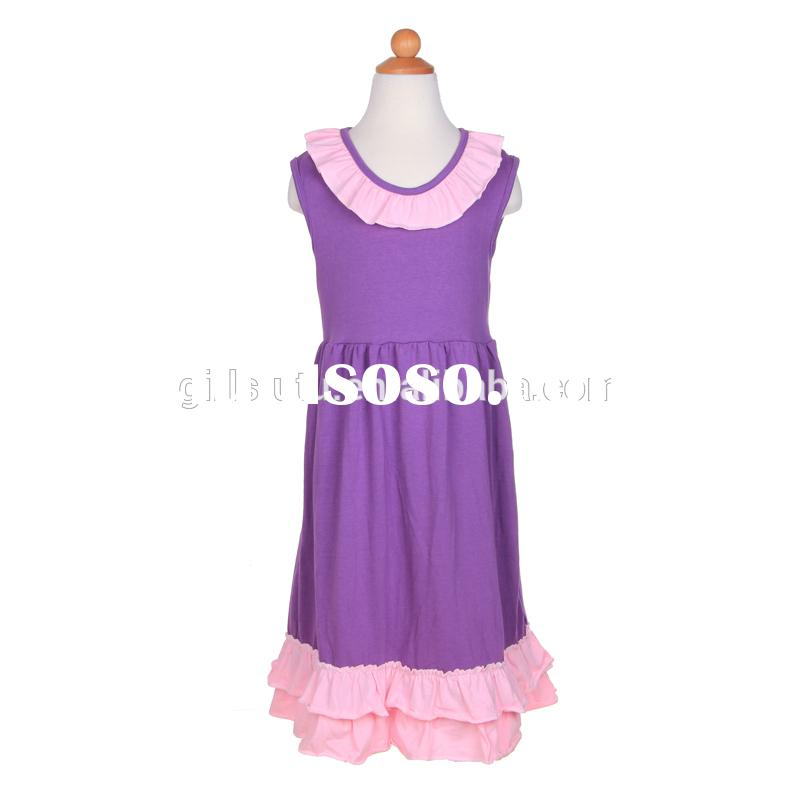 Bulk wholesale elegant purple designer cotton frock for kids summer fancy dress