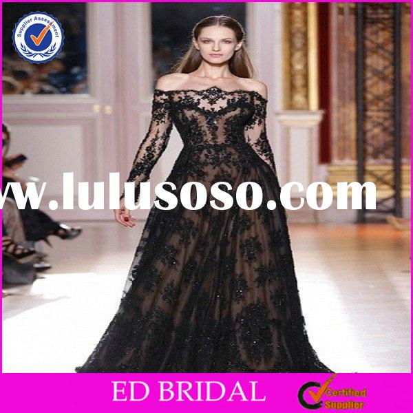 OEM Factory Elegant Style Off-Shoulder Black Long Sleeve Lace Evening Gown
