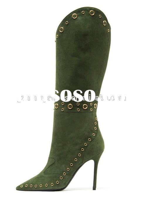 New design suede leather high heel riveter knee women boots