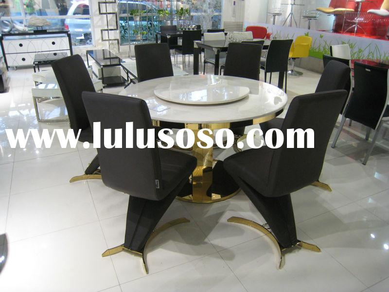 Contemporary marble top table with leather chair dining room furniture