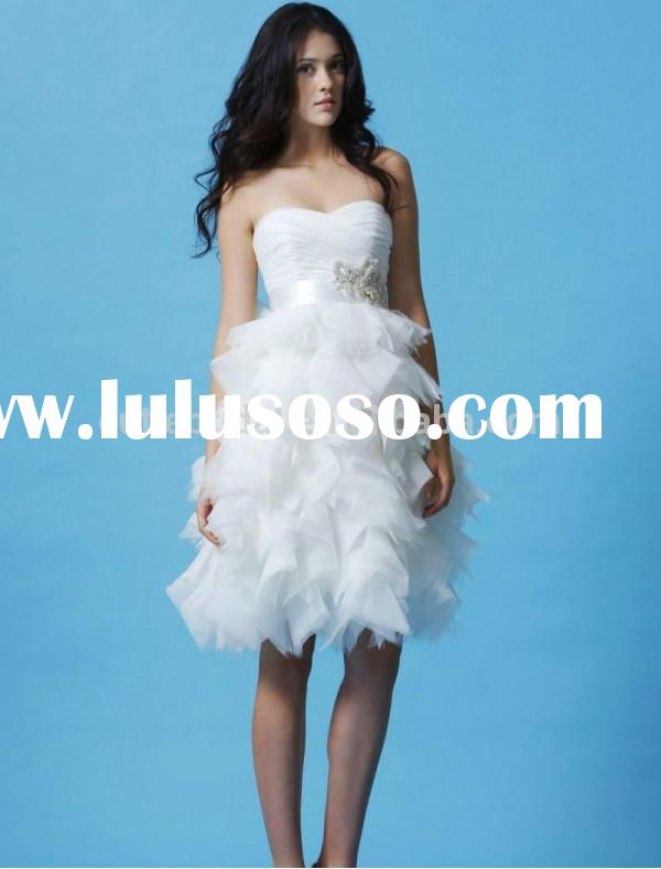 Bodice chiffon Sweetheart Ball Gown Wedding Dress 2015 Ruffled Skirt short wedding dresses GCWD-W060