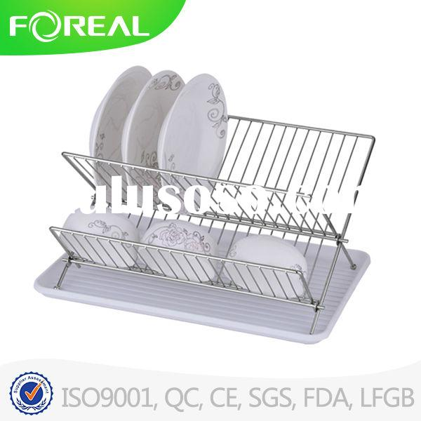 Stainless Steel Folding Kitchen Storage Rack Dish Drying Rack Bowl Rack with tray