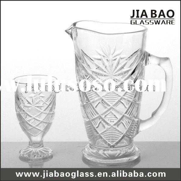 7pcs clear engraved flowers glass drinking set